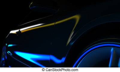 Speed Lights - Close-up of a fast travelling car reflecting...