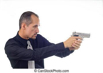 Aiming Gun - man in black shirt aiming semi-automatic pistol