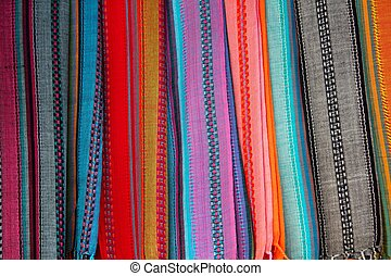 Indian colorful scarf in a row scarves