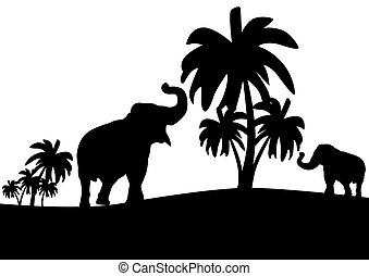 Elephants in the jungle - Black and white outline...