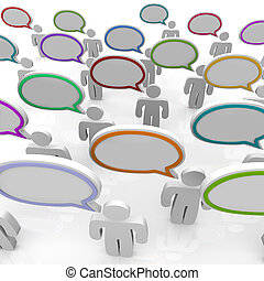 Large Group of People Talking - Speech Bubbles - Many people...