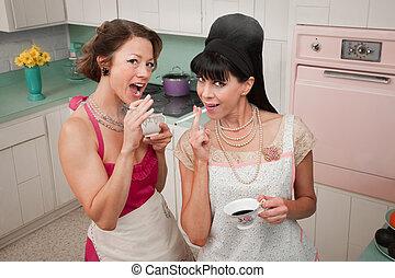 Fumar, bebida, café, mujeres