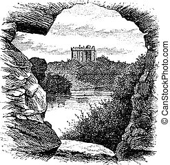 Blarney Castle, Blarney, Cork, Ireland, vintage engraving in...