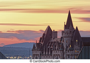 Chateau Laurier Sunset - Sunset over the Chateau Laurier in...