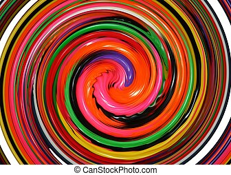 Rainbow swirl of jellybeans graphic - a col and colorful...