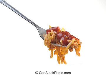 macaroni with meat and tomato