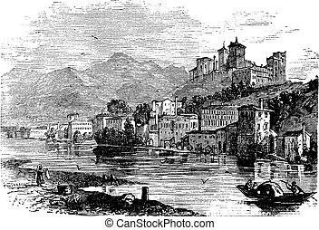 Bassano del Grappa, in Veneto, Italy, during the 1890s,...