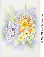 Water-colour, summer bouquet wit - Drawing a water colour on...