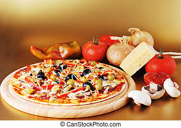 fresh baked pizza with pepperoni olives and peppers