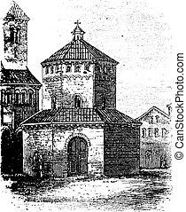 Baptistry of Novara vintage engraving