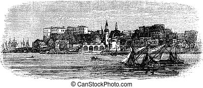Old port of Chania, Crete, Greece vintage engraving from the 1890s