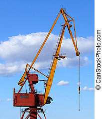 port crane against blue sky