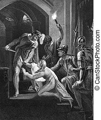Death of Prince Arthur on engraving from the 1800s Engraved...