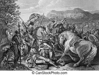 Battle of Otterburn between the Scottish and English in 1388...