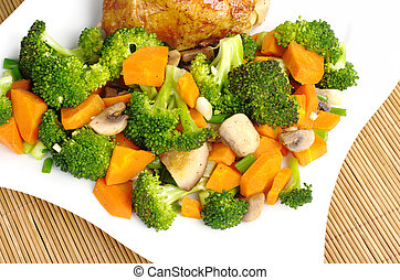 Fried vegetables broccoli, mushroom, carrot, shallot with...
