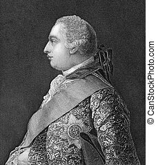 George III (1738-1820) on engraving from 1830. King of Great...