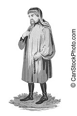 Geoffrey Chaucer (1343-1400) on engraving from early 1900s....