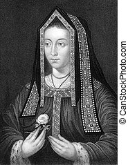 Elizabeth of York 1466-1503 on engraving from 1838 Queen...