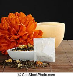 teabag, vacío, etiqueta, secado, verde, té,...
