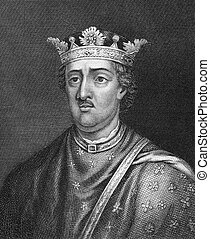 Henry II of England (1133-1189) on engraving from 1830. King...