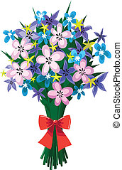 Huge bouquet of spring flowers with red bow