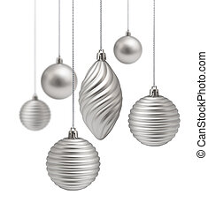 Silver Christmas decoration set