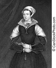Lady Jane Grey (1536/1537-1554) on engraving from 1838. Also...