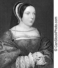 Margaret Tudor (1489-1541) on engraving from 1838. Queen of...