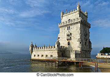Tower of Belem, Lisbon Portugal, Tower defense Tagus river...