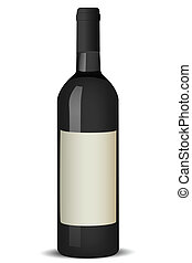 wine bottle - illustration of wine bottle on white...