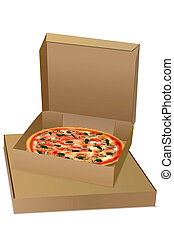 pizza  - illustration of pizza on white background
