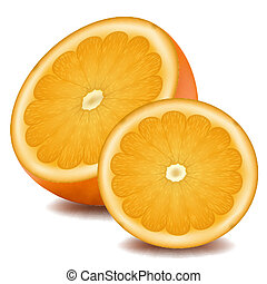 orange - illustration of orange slice on white background