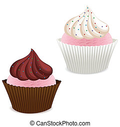 cup cake - illustration of cup cake on white background