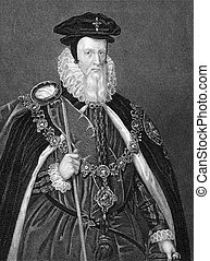 William Cecil, 1st Baron Burghley 1521-1598 on engraving...