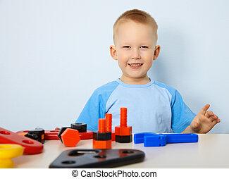 glücklich, kind, spielende, Spielzeuge