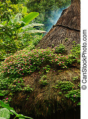 Pink flowers on the thatched roof of a kogi hut in Northern Colombia built in the traditional style of the Tayrona