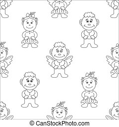 Boy and girl angels, contours - Vector seamless background,...