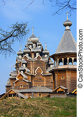 Wooden orthodox church in name of Cover All-holy mother of God, Russia (Pokrovskaya church)