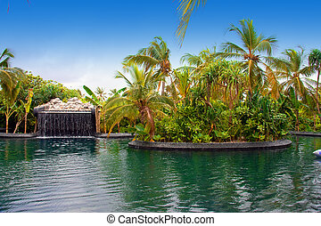 Maldives Pool with small fall in tropical garden