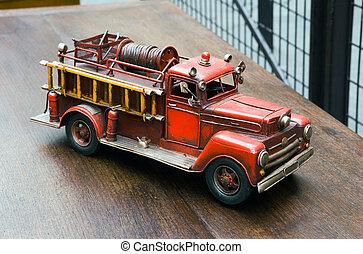 oud, toy-, vuur, motor
