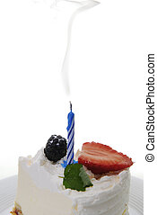 piece of cake with candle - piece of cake with blow out...