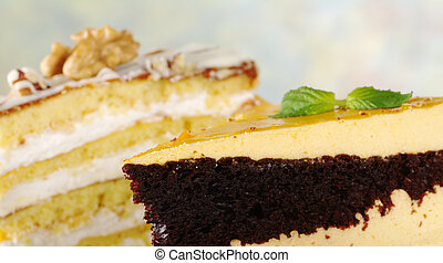 Lucuma and walnut layer cakes (Selective Focus, Focus on the...