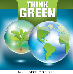 think green - vector leaf and green background