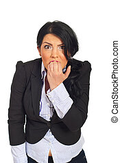 Stressed and furious business woman - Very stressed and...