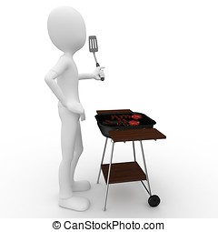 3d man with barbeque isolated on white