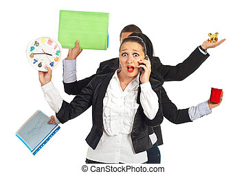 Shocked business woman talking by phone mobile - Shocked...