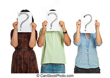 Three people holding question mark - Three casual people...