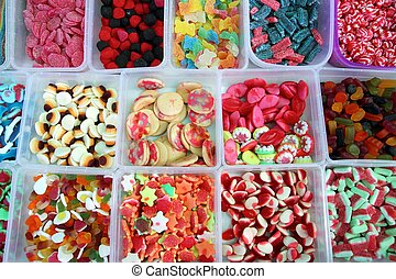 candy colorful sweets jelly in boxes pattern