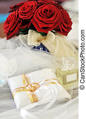 perfume and wedding rings - Garter, roses, perfume and...
