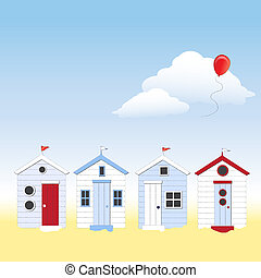 Beach huts - A row of traditional English beach huts against...